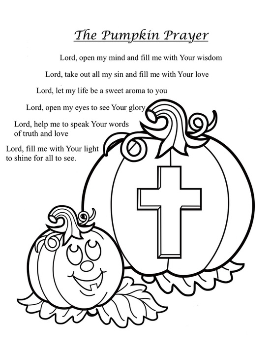 the original colouring page is from here httpwwwfreefunhalloweencomhalloween coloring pagesshine his light halloween coloring page and the pumpkin